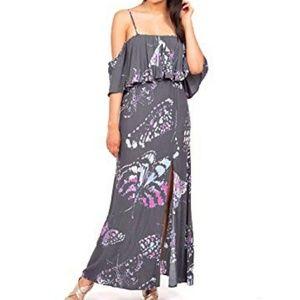 Lovestitch Cold Shoulder Boho Garden Maxi Dress